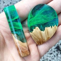 His and hers. Aurora Borealis wood and resin pendants