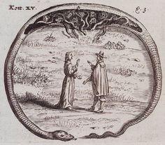 Mediummetal engraving  BookChristophoro Kottero Silesio, Christinæ Poniatoviæ Bohemæ, Nicolao Drabicio Moravo. Lux e Tenebris. n.c. : n.p., 1665. Page 64, Plate 15.  NotesKott. XV.; v.3. ouroborus: mystical symbol of wholeness and cyclical continuity.  ThemeBestiary