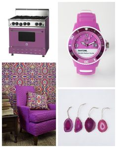 Color Trends for Fall 2015 and Winter 2016: As a professional Design Journalist and trend watcher, I'm the first to admit that it's hard to keep pace with color trends. Pantone's 2014 Color of the Year Radiant Orchid makes a strong crossover between fashion and home interiors. Blue Star Range pictured in the upper left corner. Bottom left corner is the Boho Chair by Caleidoscope of Color. Upper right is the Coy Watch in Pantone Radiant Orchid and lower right is Agate Ornaments by West Elm.