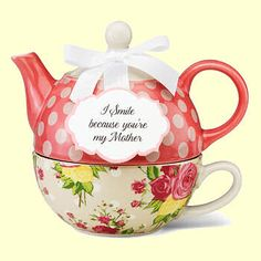 """Tea for One Set Porcelain Floral Chintz  """"I Smile Because You're My Mother"""""""