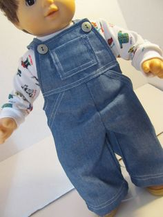 Bitty Baby Doll Clothes Fireman Tshirt Denim Bib by fashioned4you, $16.00