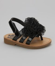 Take a look at this Black Strappy Flower Sandal by Baby Deer on #zulily today!