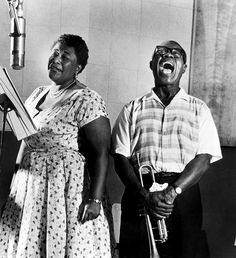 Ella Fitzgerald and Louis Armstrong in the recording studio, 1956