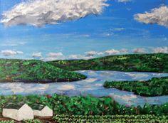 Original Painting Summer Vineyard Keuka Lake 12x16 by BOWAstudio, $145.00