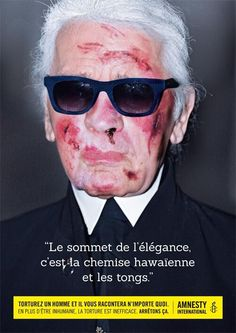 Karl Lagerfeld torturé pour la campagne d'Amnesty International 2014.