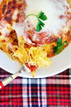 Cheesy Spaghetti Squash Marinara | Gluten Free, Grain Free Recipe on FamilyFreshCooking.com