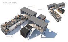 Container Van, Sea Container Homes, Cargo Container, Container Houses, Container House Design, 3d Building, Building A House, Shipping Container Design, Street Image