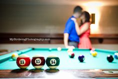 Save the Date with Billiard theme! Engagement photo ideas for Pool players. Find a way to incorporate your passion! Engagement poses, Save the date for pool players.