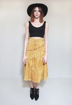 Vintage 1970's Premium Yellow Suede Fringed Midi Skirt