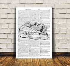 Dinosaur skull poster over dictionary text. Nice anatomy print. Awesome macabre art. Gothic decor for your home and office. SIZES: A4 (8.3 x 11)