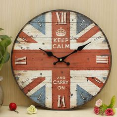 Vintage Wall Clock Union Jack Rustic Shabby Home Wall Office Cafe Bar Decor Art Gift