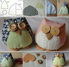 Artesanatos com Moldes: Corujas com moldes Owl Crafts, Easter Crafts, Sewing Toys, Sewing Crafts, Owl Sewing Patterns, Fabric Birds, Sewing Projects For Beginners, Felt Animals, Pin Cushions