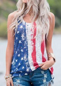 74595babe87 American Flag O-Neck Tank - Bellelily. Flag ShirtSummer TopsFourth Of July  ShirtsPatriotic ShirtsJuly 4thWomens T Shirt DressAmerican Flag TankCropped  ...