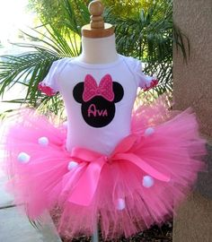 Avery's first birthday!  Minnie Mouse Inspired Tutu Set