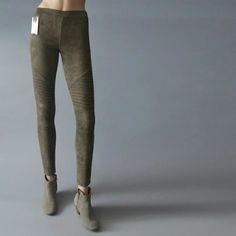 Discount $17.19, Buy 2017 New Spring Womens Leggings Silm MOTO Solid Leggings Trousers For Women Stretch Pleated Suede Leggings Pencil Pants