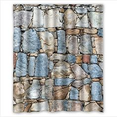 Classic Brick Wall Patternstone And Rock Art Polyester Fabric Custom Home Decor Shower Curtain X