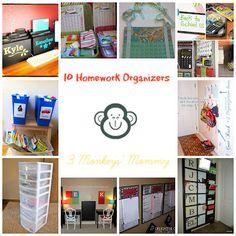 3 Monkeys' Mommy: 10 Homework Organizers {Perfect Pins}