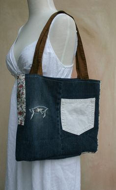 Upcycle Eco Friendly patch denim tote bag