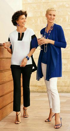 like the black and white tunic style. YES to simple colors and hem line. NO to 3/4 length sleeves.