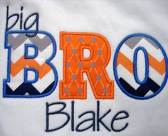 Big Bro shirt, boys applique shirt, Big Brother Shirt, sibling shirt, boys monogram shirt, Boys Chevron shirt. $22.00, via Etsy.