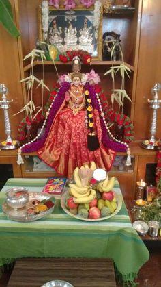 Varalakshmi Vratham 2019 honours the most popular Goddess Maha Lakshmi. Varalakshmi Puja or homam on this day means abundant wealth is sure to come your way. God Pictures, Dance Pictures, Kalamkari Blouse Designs, Lakshmi Photos, Silver Pooja Items, Puja Room, Wedding Gift Wrapping, Diwali Festival, Beautiful Rangoli Designs
