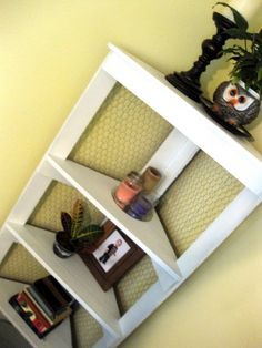 Idea - DIY shelf.  Love the chicken wire
