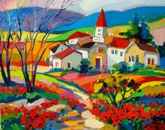 Isabel Le Roux - Provence Landscape Quilts, Landscape Paintings, Naive, Oil Painting Texture, Diy Artwork, Africa Art, Paintings I Love, Whimsical Art, Large Art