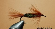 PEAC-ABOU Hook: Nymph style Thread: Brown Tail: Brown marabou Body: Peacock herl Collar: Brown marabou, tips tied forward an...