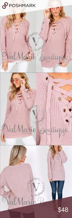 "Mauve Lace Up Sweater Gorgeous lace up sweater, so soft and warm and on trend for this 2017 autumn fall winter. 27.5"" long. 80% acrylic, 20% cotton. It is recommended to dry clean this sweater. No dryer! Slight oversized fit. Busts laying flat: S 21"" M 22"" L 22.5"" - S(SOLD OUT) M(6-8) L(10-12) last image to show back view and with outfit. Color is correct in 1st and 2nd images. Perfect for date night, girls night, casual wear, trendy classy fashion. ValMarie Sweaters"