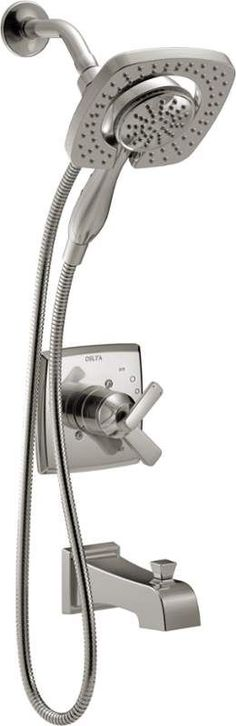 Delta T17464-SS-I Brilliance Stainless Ashlyn Monitor 17 Series Dual Function Pressure Balanced Tub and Shower Trim Package with In2ition Shower Head / Hand Shower and Integrated Volume Control - Less Rough-In Valve - FaucetDirect.com
