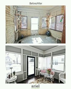 Rehab addict - Case Ave front porch. Before/ after by Ariel Photography
