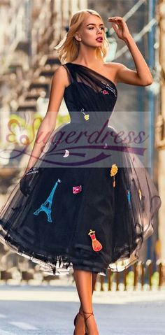 princess one shoulder black ball gown, short black homecoming dresses with embroidery, oen shoulder homecoming dresses Navy Blue Prom Dresses, Cheap Homecoming Dresses, Best Prom Dresses, Formal Evening Dresses, Elegant Dresses, Beautiful Dresses, Nice Dresses, Amazing Dresses, Sheer Wedding Dress