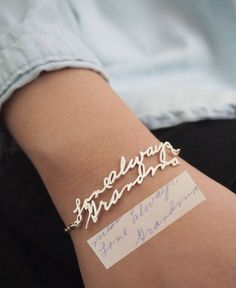 SALE Memorial Signature Bracelet by CaitlynMinimalist on Etsy  i want this with nanas writing