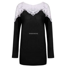 Fashion women lady long sleeve lace hollow patchwork t-shirt tops blouse | eBay