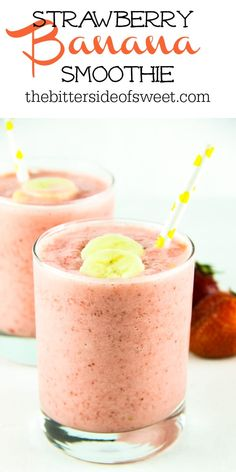 Strawberry Banana Smoothie is so creamy and delicious! Full of strawberry flavor with a touch of banana! Makes for a perfect post workout treat! | The Bitter Side of Sweet Healthy Breakfast Smoothies, Easy Smoothies, Smoothie Recipes, Juice Recipes, Breakfast Recipes, Vegan Kitchen, Kitchen Recipes, Sweet Recipes, Southern Recipes