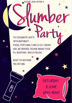 A slumber party invitation with a pillow, flashlight, and moon.