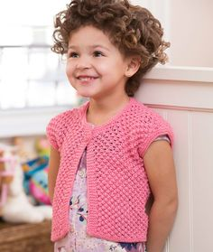 Free knitting pattern for Little Girl Shrug by Cathy Payson. Sized for and 8 years tba. - Crochet and Knit Shrug Knitting Pattern, Kids Knitting Patterns, Knitting For Kids, Baby Patterns, Free Knitting, Knit Or Crochet, Crochet For Kids, Crochet Baby, Knitted Baby