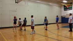8th graders playing basketball in gym today. Today they went from man to man to zone defense. #byrampride
