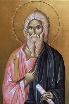 Άγιος Ανδρεας Religious Icons, Religious Art, Byzantine Icons, Orthodox Icons, Graffiti, Artwork, Saints, Urban Art, White Hair