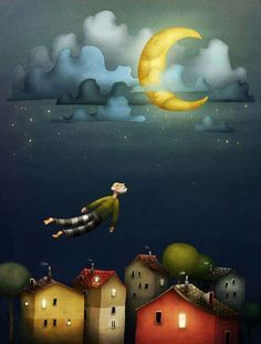 An Illustration I did for a Dutch childrens magazine. The theme was death and I made this illustration for a sad but sweet story about a kid losing his grandpa. Good Night Moon, Beautiful Moon, Moon Art, Pics Art, Children's Book Illustration, Moon Child, Whimsical Art, Stars And Moon, Illustrations Posters