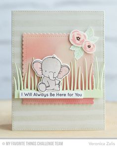 Adorable Elephants, Mini Modern Blooms, Watercolor Stripes Background, Adorable Elephants Die-namics, Blueprints 22 Die-namics, Blueprints 25 Die-namics, Stitched Mini Scallop Square STAX Die-namics, Tall Grassy Edges Die-namics - Veronica Zalis #mftstamps