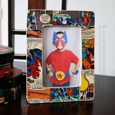 For the superhero in your life -- How to Make a Comic Book Decoupage Frame by Amanda Formaro, Crafts by Amanda