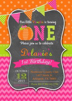 Pumpkin patch first birthday party invitation printable 1st birthday halloween