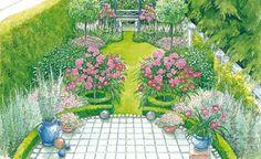 Reihenhausgärten bieten zwar nicht viel Platz, aber trotzdem viele Gestaltungsmöglichkeiten. Hier finden Sie zwei Vorschläge, wie man das schmale Handtuch in ein Blütenparadies verwandeln kann – inklusive Pflanzplänen zum Herunterladen.