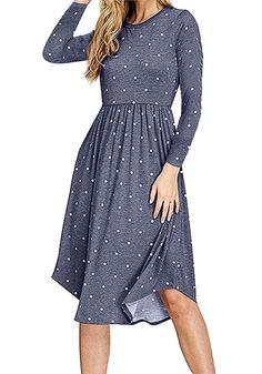 35db1a44220 Simier Fariry Women Long Sleeve Pleated Polka Dot Pocket Swing Casual Midi  Dress. Dress Fashion ...