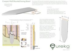 Eureka MFG USA and Canada Space Saving Compact Wall Mounted Ironing Board