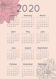 Calendar 2020 With Flower Peach Design