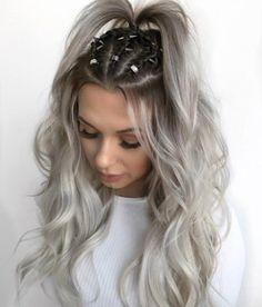 41 Brilliant Ways to Wear Gray and Silver Hair Color Balayage Dark Silver Hair, Dark Hair, Pelo Rasta, Plaits Hairstyles, Hair Plaits, Wedding Hairstyles, Fast Hairstyles, Wedding Updo, Hair Rings