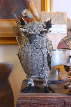 an owl made from Mrs Brown's skirt - Chuzzlewit