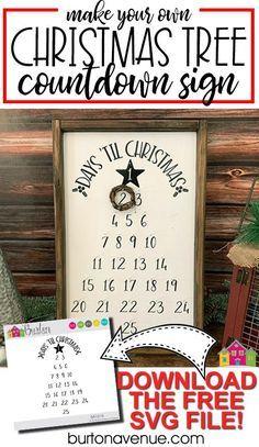 DIY Christmas Tree Countdown Sign - Burton Avenue